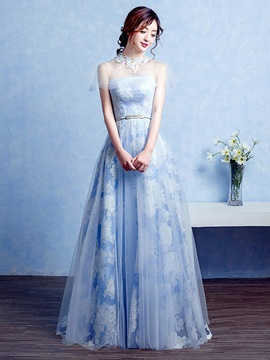 Ericdress A-Line High Neck Beaded Lace Floor-Length Evening Dress