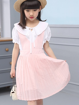 Ericdress Pleated Lace-Up Girls Outfit