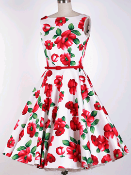 Ericdress Flower Print Round Neck Sleeveless Vintage Casual Dress