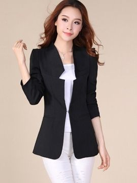 Ericdress Simple Solid Color Buckle Blazer