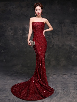 Ericdress Strapless Mermaid Beading Sequins Court Train Evening Dress