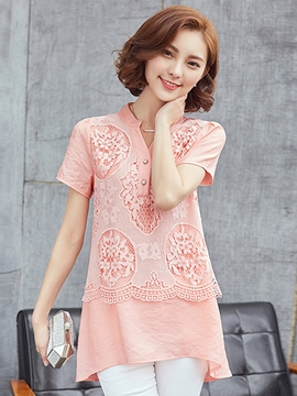 Ericdress Slim Lace Patchwork Casual Blouse