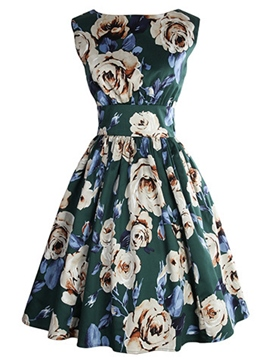 Ericdress Floral Print Patchwork Sleeveless Casual Dress