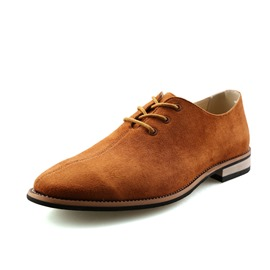 Ericdress Square Low Heel Pointed Toe Lace-Up Men's Loafers