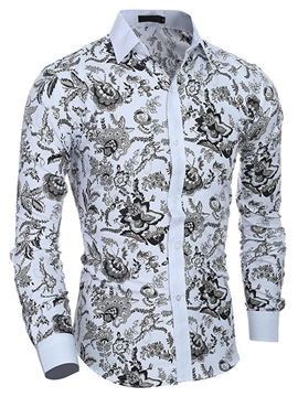 Ericdress Classic Print Long Sleeve Men's Shirt