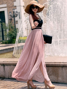 Ericdress Color Block Patchwork Split Maxi Dress
