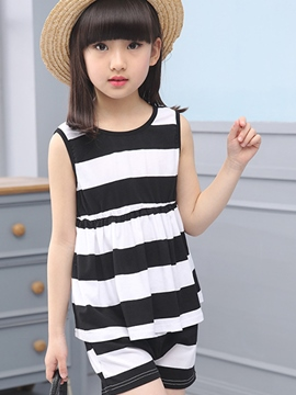 Ericdress Stripe Sleeveless Girls Shorts Outfit