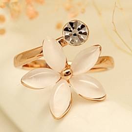 Ericdress Elegant Opal Flower Open Ring