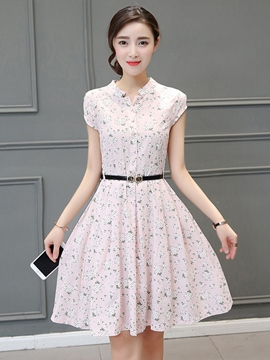 Ericdress Floral Print Single-Breasted Short Sleeve Casual Dress