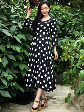 Ericdress Polka Dots Round Neck Three-Quarter Sleeve Maxi Dress