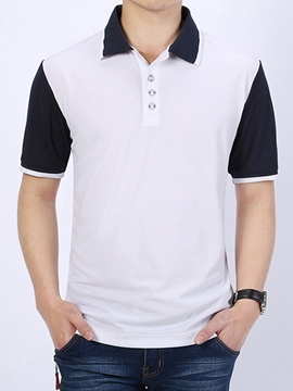 Ericdress Color Block Sports Casual Men's Polo T-Shirt