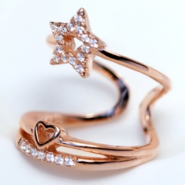 Ericdress Exaggerate Diamante Star Open Ring