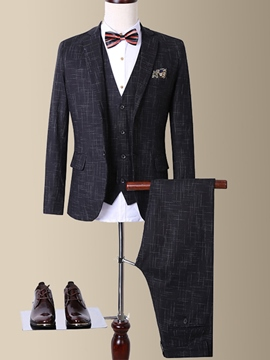 Ericdress Formal Plaid Vogue Three-Piece of Men's Suit