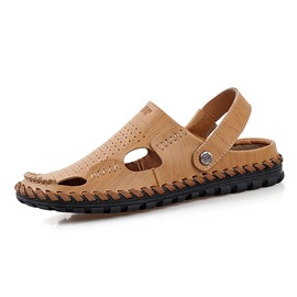 Ericdress Round Toe Flat Heel Slip-On Hollow Men's Sandals