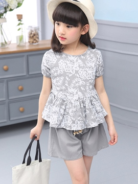 Ericdress Floral Falbala Girls Outfit