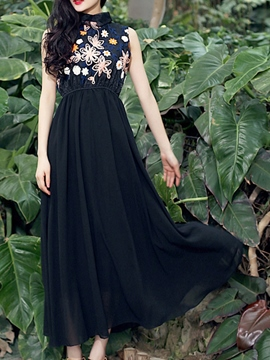Ericdress Embroidery Patchwork Polo Neck Maxi Dress