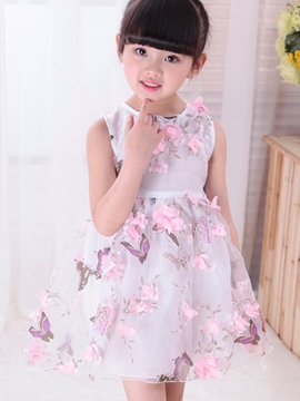 Ericdress Floral Girls Sleeveless Dress