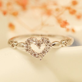 Ericdress Heart Shaped Hollow Diamante Ring