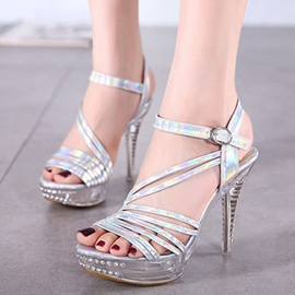 Ericdress Roman Rhinestone Stiletto Sandals