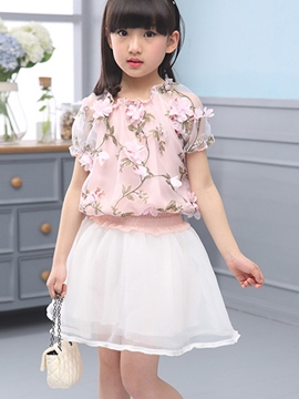 Ericdress Floral Short Sleeve Girls Outfit