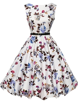 Ericdress Flower Print Sleeveless Vintage Casual Dress
