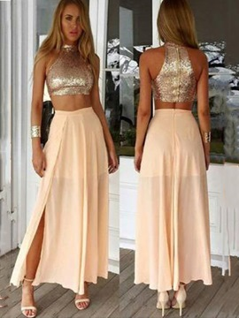 Ericdress Halter Two Piece Split-Front Prom Dress