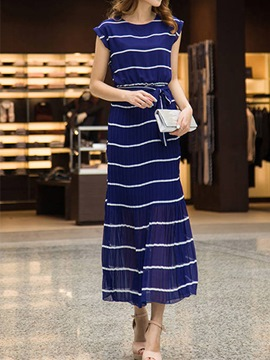Ericdress Stripe Pleated Ankle-Length Maxi Dress