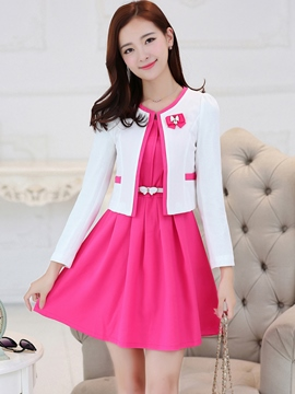 Ericdress Sweet Solid Color Dress Suits