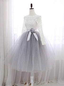 Ericdress A-Line Jewel Neck Lace Sashes Tea-Length Prom Dress