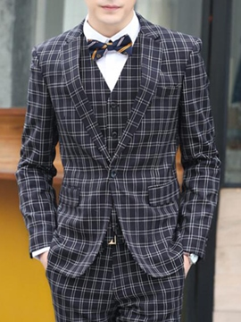 Ericdress Classic Plaid Three-Piece of Men's Suit