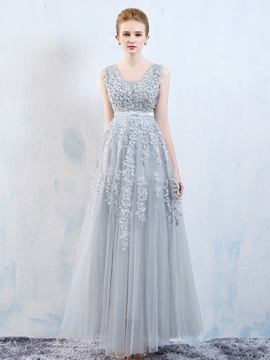 Ericdress A-Line Square Appliques Floor-Length Evening Dress