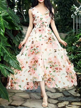 Ericdress Butterfly Print Split Expansion Maxi Dress