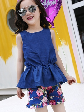 Ericdress Floral Print Shorts Girls Outfit