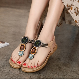 Ericdress Bohemian Beaded Thong Flat Sandals