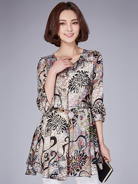 Ericdress Slim Printed Blouse