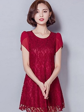 Ericdress Slim A-Line Lace Blouse