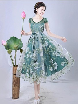 Ericdress Organza Expansion Print Casual Dress