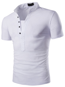Ericdress Solid Color Stand Collar Slim Men's T-Shirt