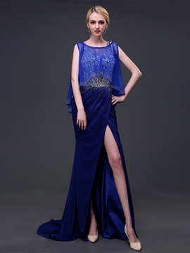 Ericdress Sheath Scoop Beading Split-Front Brush Train Evening Dress
