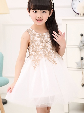 Ericdress Lace Mesh Girls Sleeveless Dress