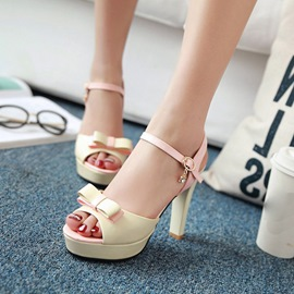 Ericdress Sweet Bowtie Patchwork Chunky Sandals