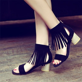 Ericdress Open Toe Zipper Plain Tassel Chunky Sandals