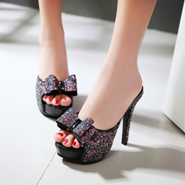 Ericdress Shining Sequins Bowtie Mules Shoes