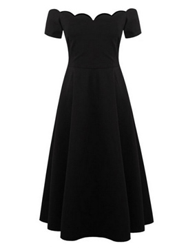 Ericdress Wave Slash Neck Solid Color Maxi Dress