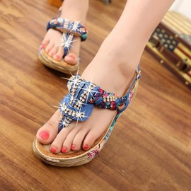 Ericdress Sweet Floral Print Thong Flat Sandals
