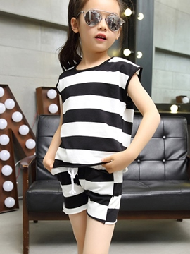 Ericdress Stripe Girls Shorts Outfit
