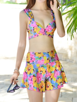 Ericdress Floral Print Three-Piece of Cross Lace-Up Swimear