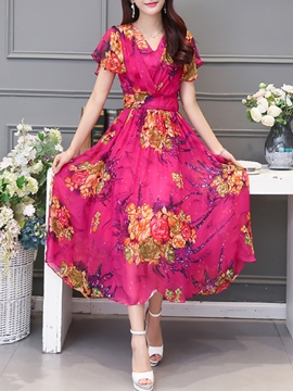 Ericdress Flower Print Short Sleeve V-Neck Expansion Maxi Dress