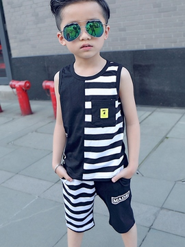 Ericdress Sleeveless Stripe Boys Outfit