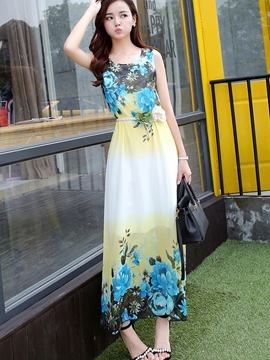 Ericdress Beach Sleeveless Print Maxi Dress